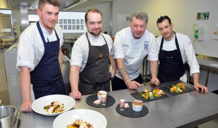 SW03316C E.Port West Chehire Collage, CH1 Chester Bid Sous Chef Challenge. Picture Chefs Harry Redmayne, Michael hodges, Chairman of Judges Celebritity Chef Brian Mellor and Sergio Alonso.